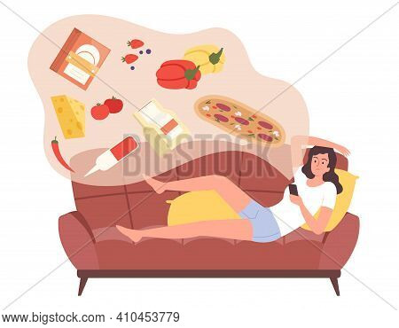 Online Shopping. Woman On Sofa Use Delivery Or Store App In Smartphone. Modern Market Place Vector C