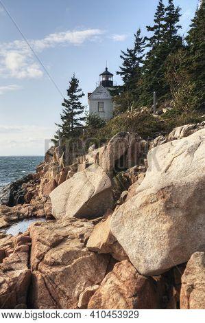 The Bass Harbor Head Light In Acadia Area Of Maine