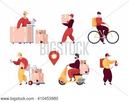 Delivery Service. Professional Deliver Characters Warehouse Workers Postman With Packages And Transp
