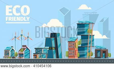 Eco City. Background With Eco Friendly Constructions Houses With Smart Sun Panels Energy Windmills F