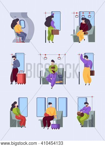 Tired Persons Vehicles. Urban Transport Interior Standing And Sitting Tired Characters Work Public S
