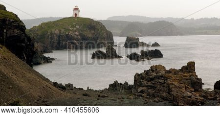 The Trinity Lighthouse On The Cliff, Newfoundland, Canada