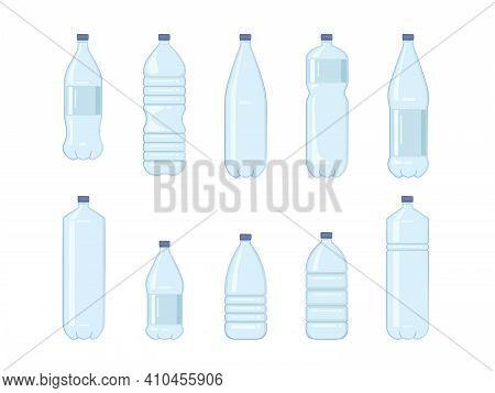 Set Of Water Bottles. Drink Bottles Isolated Vector Illustration Icons Set. Bottle Beverage, Water D