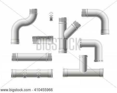 Seamless Pipeline Pattern. Realistic Water And Gas Engineering Plumbing System. Steel Metal Water, O