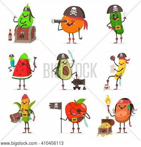 Funny Pirate Fruit In Hat With Skull And Crossbone, Eye Patch, Sword, Cannon, Spyglass, Map, Parrot,