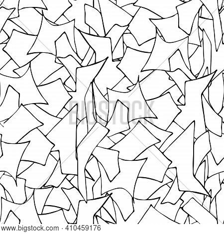 Black And White Geometric Abstract Pattern, Vector Geometric Shapes Seamless Pattern.