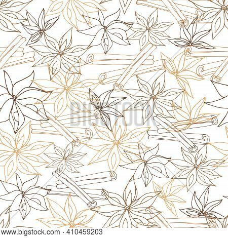 Contour Seamless Pattern Of Anise And Cinnamon On A White Background. Vector Pattern Of Spices For P