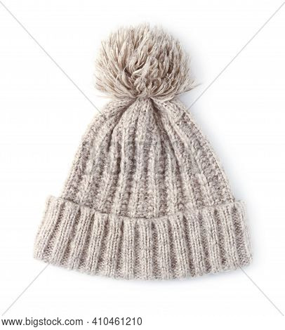 Woolen Winter Knitted Hat With Pompom Isolated On White