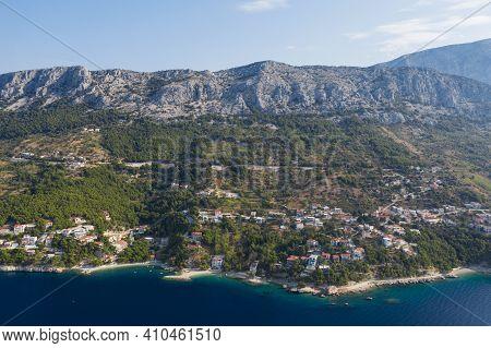 Famous Adriatic Coast. Panoramic Aerial View Of Picturesque Coastline In Makarska Riviera, Brela, Cr