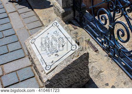 Istanbul, Turkey - May 16, 2013: Stone Signboard Of The Obelisk Of Theodosius Or Egyptian Obelisk