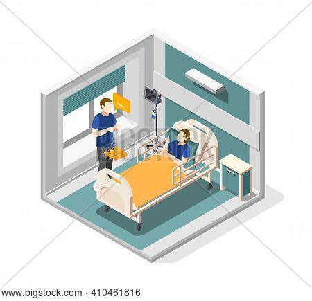 Mutual Help Isometric Concept With Medical Assistance Symbols Vector Illustration