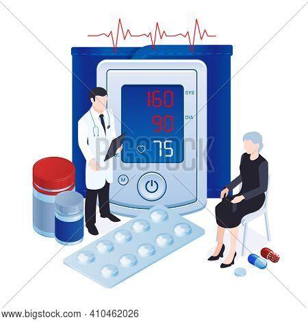 Digital Blood Pressure Measuring Tool Monitor Tonometer Isometric Composition With Doctor Prescribin