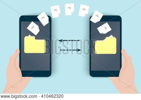 Electronic File Transfer. Hand Holds A Mobile Phone. Sending And Receiving A File From One Phone To
