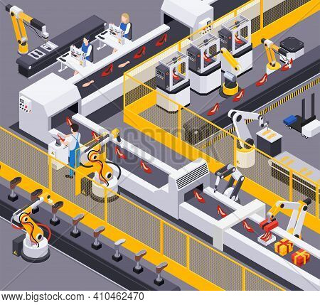Footwear Shoes Production Isometric Composition With View Of Industrial Conveyor Operated By Workers