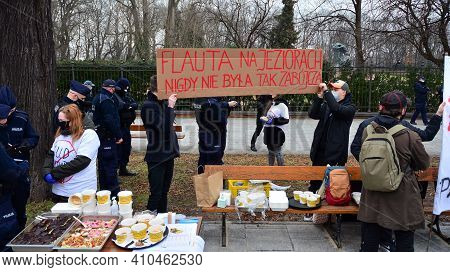 Warsaw Poland. 1 March 2021. Protest At The Chancellery Of The Prime Minister. Confederation - A Far