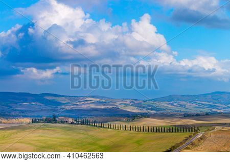 Sunny Tuscany landscape - beautiful hills and sky with clouds, amazing weather and nature, Tuscany, Italy, Europe. Panorama
