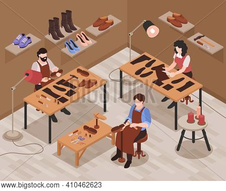 Shoemaker Shop Interior Isometric Composition With Craftsmen Repairing And Making Customer Shoes Foo
