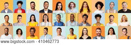 Collage Of Diverse People Portraits. Cheerful Millennials Smiling Posing Over Different Colorful Bac