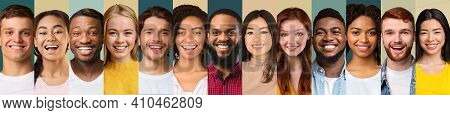 Collection Of Beautiful Young People Portraits In A Row Collage On Different Backgrounds. Millennial