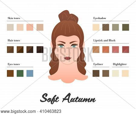 Women Color Types Analysis - Soft Autumn Type. Characteristics Of Colortype And Best Palette For Mak