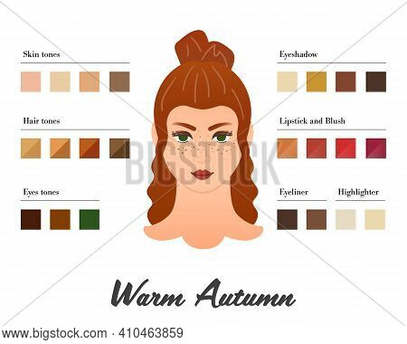 Women Color Types Analysis - Warm Autumn Type. Characteristics Of Colortype And Best Palette For Mak