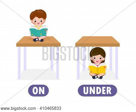 Words On And Under With Cartoon Characters Cute Kids Reading Book, Opposite Word Antonym For Childre
