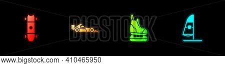 Set Longboard Or Skateboard, Formula 1 Racing Car, Skates And Windsurfing Icon. Vector