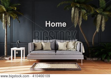 Elegant Living Room Interior With Vintage Sofa Between Large Palm Trees; Paradise Lettering; Home Co