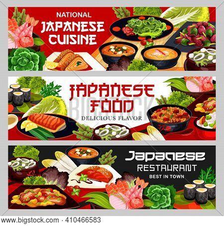 Japanese Cuisine Food, Japan Restaurant Banners, Seafood, Noodles And Meat Meals, Vector Menu. Japan