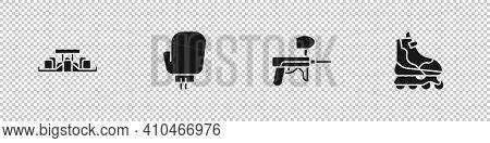 Set Formula 1 Racing Car, Boxing Glove, Paintball Gun And Roller Skate Icon. Vector