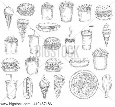 Fast Food Meals, Drinks And Snacks Sketches. Hamburger, Hotdog And Tacos, French Fries And Popcorn B