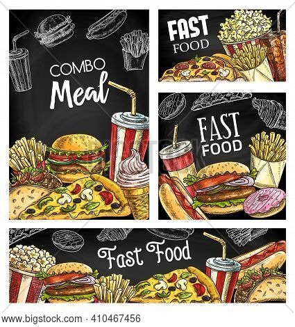 Fast Food Meals And Drinks Chalkboard Sketch Banners. Hamburger, French Fries And Pizza, Hot Dog, Ta