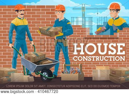 House Construction Worker, Mason And Foreman. Workers In Uniform And Safety Helmet, Laying Brick Wal