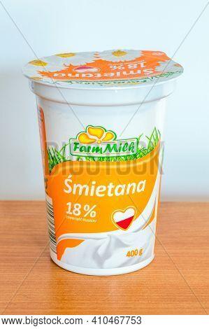 Pruszcz Gdanski, Poland - February 22, 2021: Farmmilk Sour Cream.