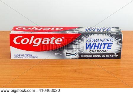 Pruszcz Gdanski, Poland - February 22, 2021: Colgate Advanced White Charcoal Tooth Paste.