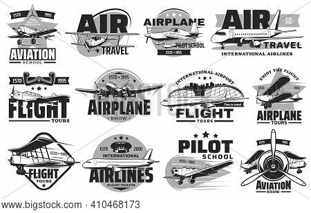 Pilot Courses And Flight Tours Icons Set. Aviation Show, International Airline And Flying School Emb