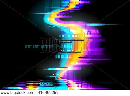 Glitch Background, Pixels Digital Noise On Screen, Vector. Glitch Or Signal Distortion Effect On Dis