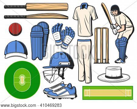 Cricket Equipment, Sport Icons Of Ball, Bat And Wicket, Vector Game Items. Cricket Equipment And Pla