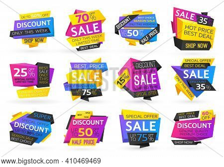 Shopping Sale And Price Discounts Offer Badges. Seasonal Sale Price Off, Best Deal And Hot Discounts