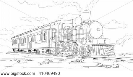 Vector Coloring Page With 3d Model Train And Bright Landscape. Beautiful Vector Illustration With Tr