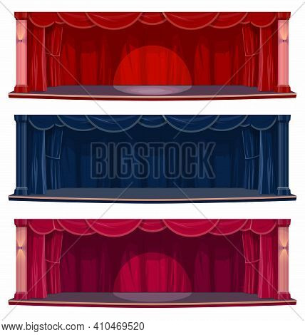 Theater Or Concert Hall Stage With Curtains And Drapes. Empty Stage With Spotlight Beam, Red And Blu