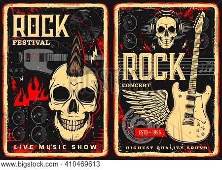 Hard Rock Music Retro Flyers Or Posters. Human Skulls And Electric Guitars, Audio Speakers In Fire A
