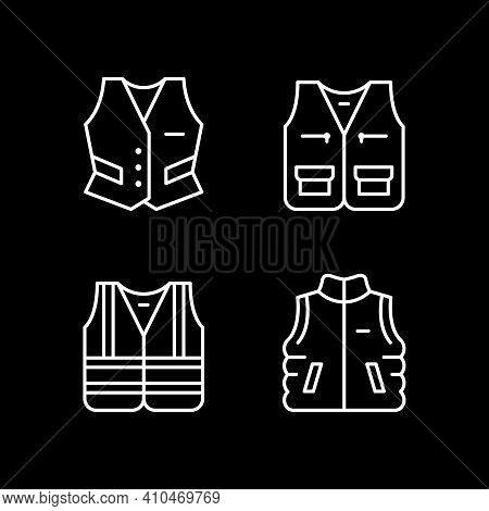 Set Line Icons Of Vest Isolated On Black. Personal Protective Equipment, Reflective Jacket, Industri