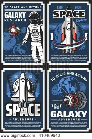 Outer Space Adventure, Galaxy Research Retro Vector Posters. Cosmonaut, Satellite And Shuttle In Uni