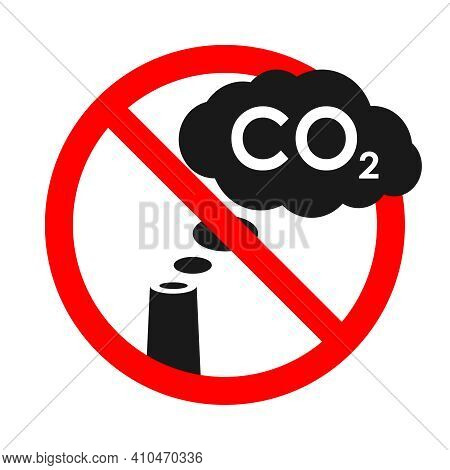 Symbol Prohibited Cloud Co2 From Chimney. Warning Banner No Industrial Emissions. Sign Isolated On W