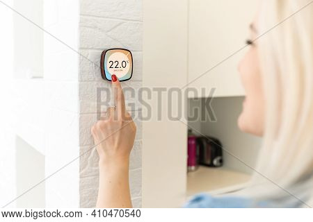 Thermostat Smart Home Domotic Control Panel On Wall For Winter House Temperature Banner Panoramic. E