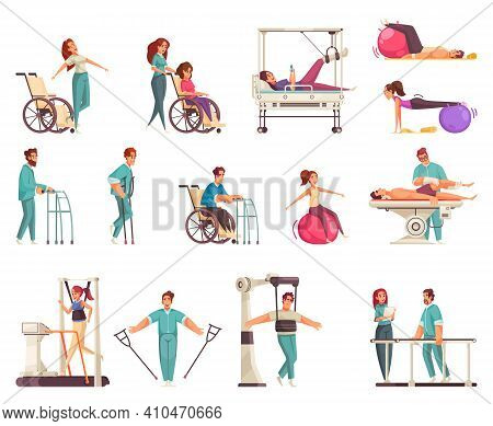 Medical Physiotherapy Rehabilitation Set With Icons And Doodle Human Characters With Medical Applian