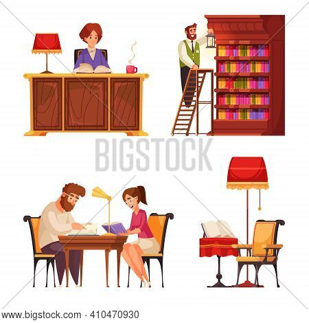 Old Library Book Set Of Isolated Compositions With Doodle Characters Of Public Visitors Librarian An