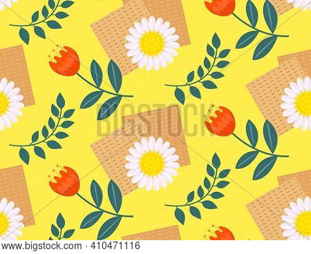 Passover Seamless Pattern With Matzah And Flowers Spring. Pesach Endless Background, Texture. Vector