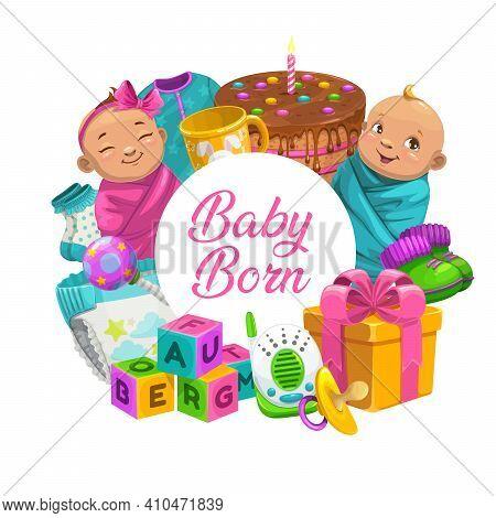 Baby Born Cartoon Vector Round Banner With Newborn Children Boy And Girl, Toys, Gift Box, Birthday C